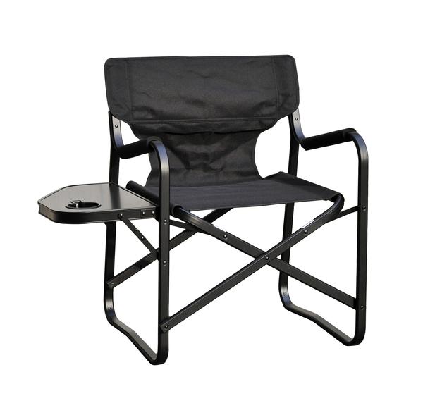 サイドテーブル付ディレクターチェア OW-N65T-BLK 黒一色でシックなテーブル付きチェア